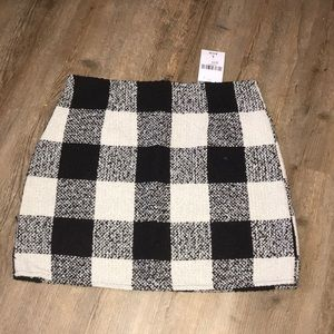 Tweed Buffalo Plaid Mini Skirt
